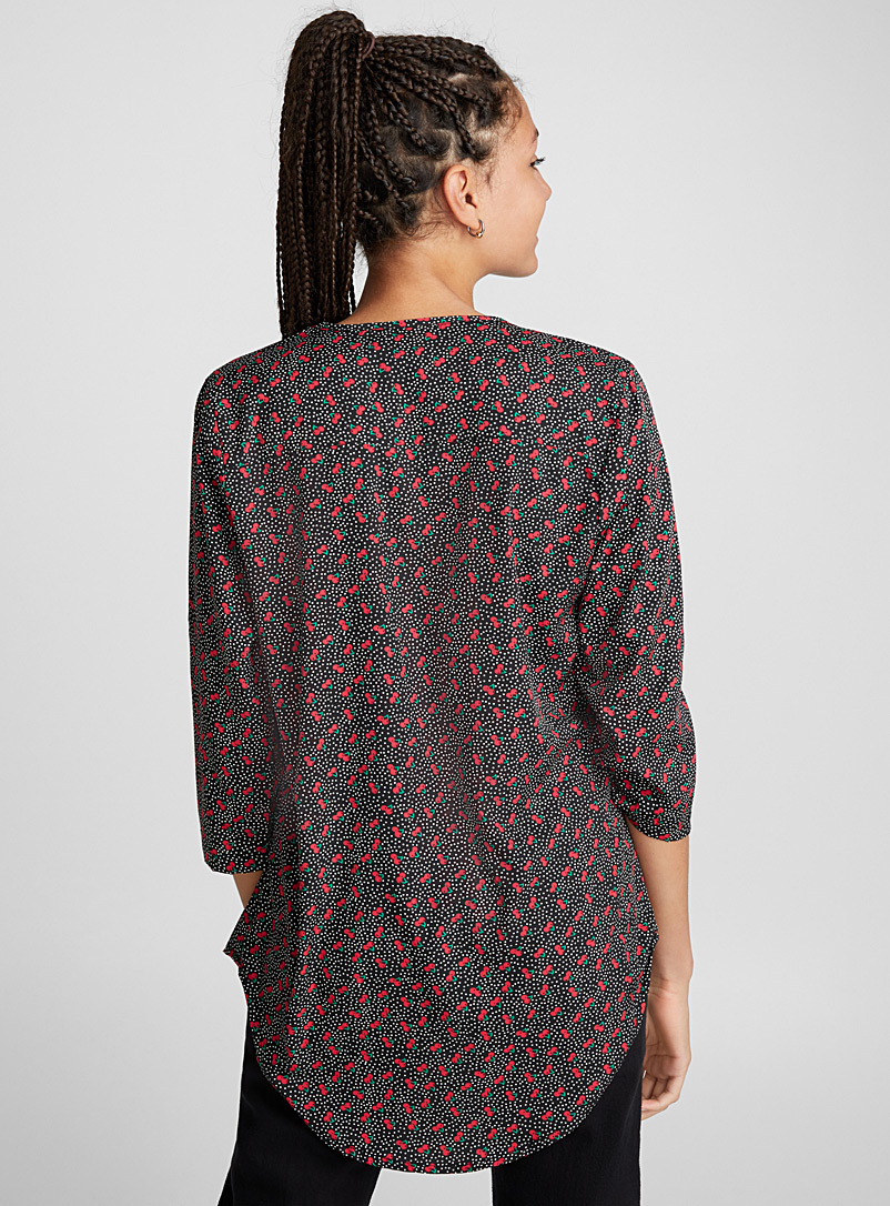 Printed collarless blouse - Blouses - Bright Red