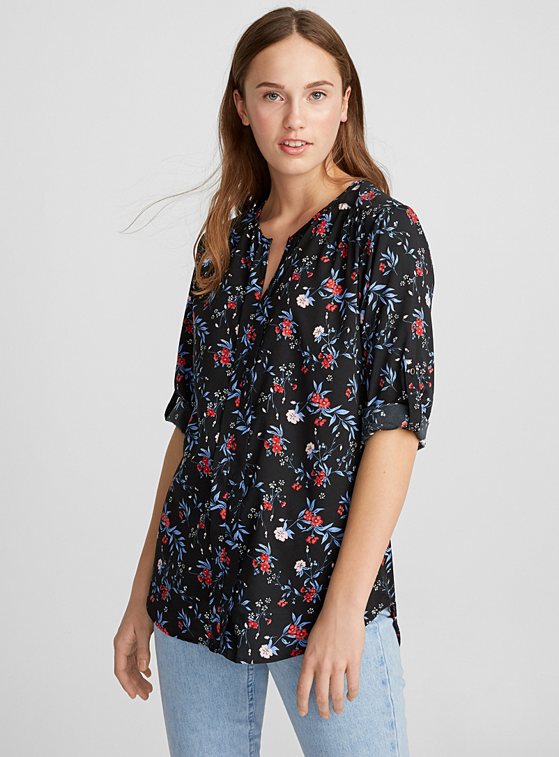 Printed collarless blouse - Blouses - Patterned Red