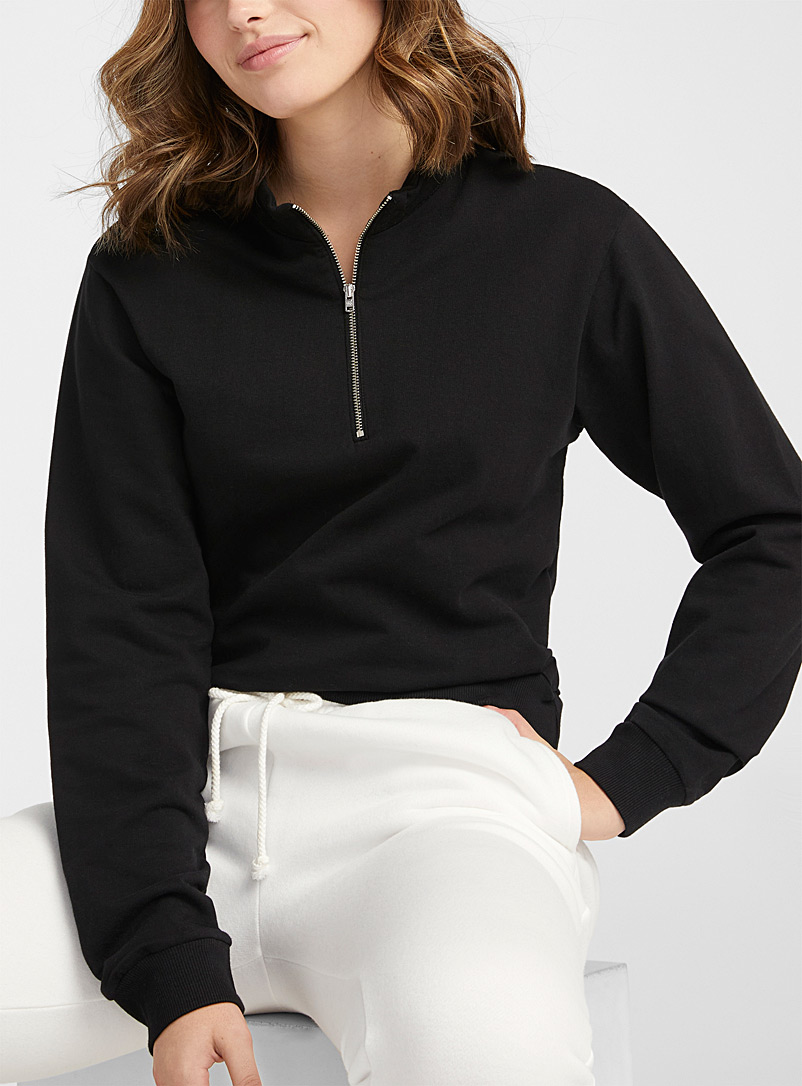 Twik Black Half-zip high-neck cropped sweatshirt for women