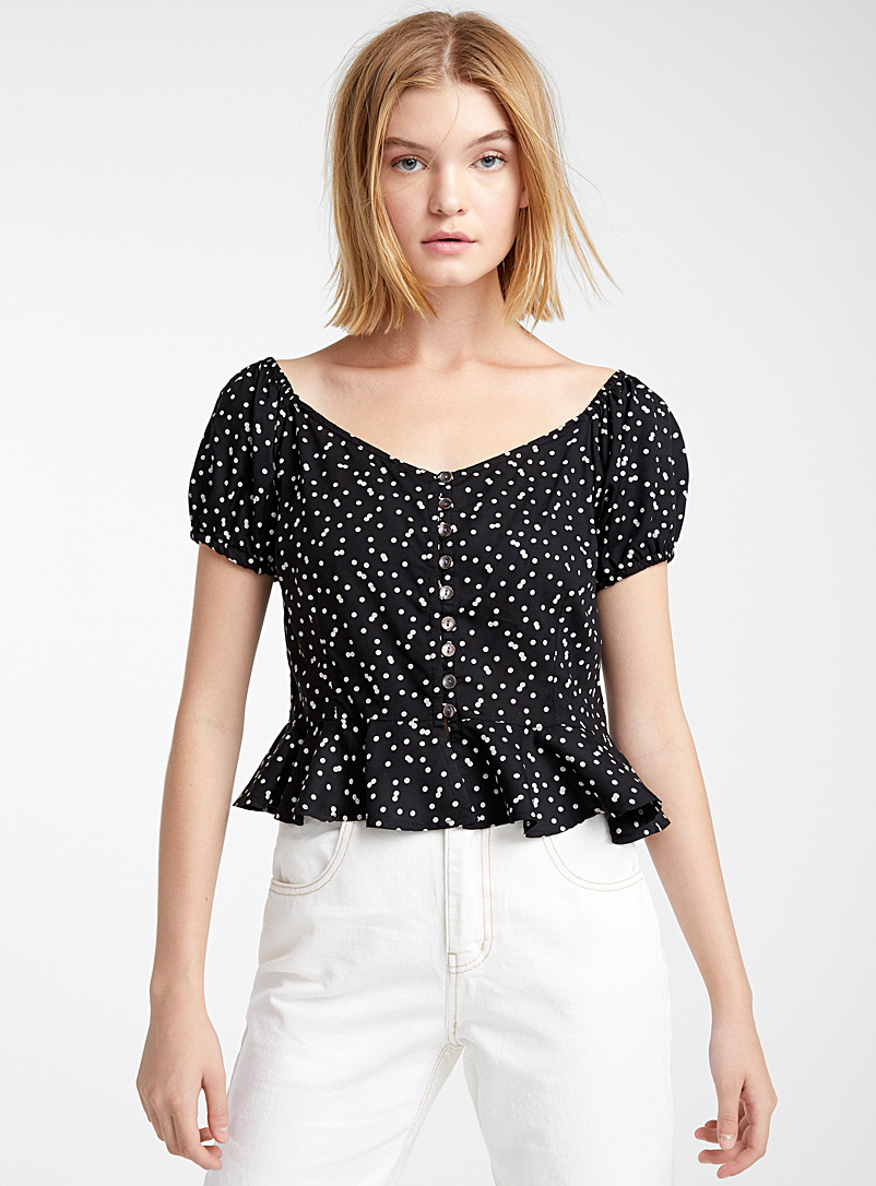 Buttoned peplum blouse - Crop Tops - Patterned Black