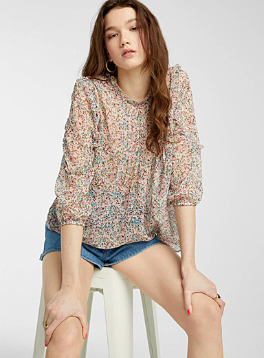 Sheer floral ruffle and pleat blouse