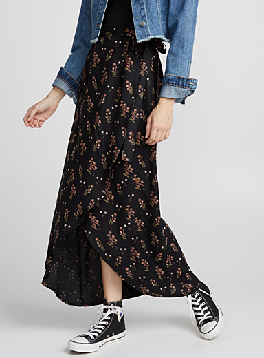 Printed wrap maxi skirt