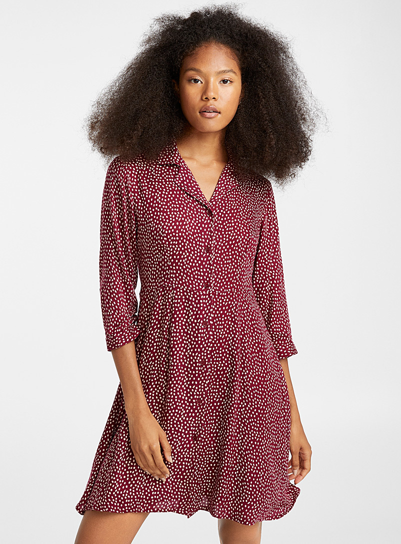 Printed bowling-collar dress - Fit & Flare - Ruby Red