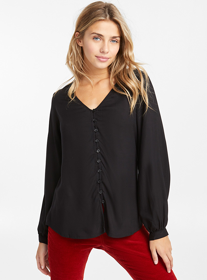 Twik Black Balloon-sleeve blouse for women