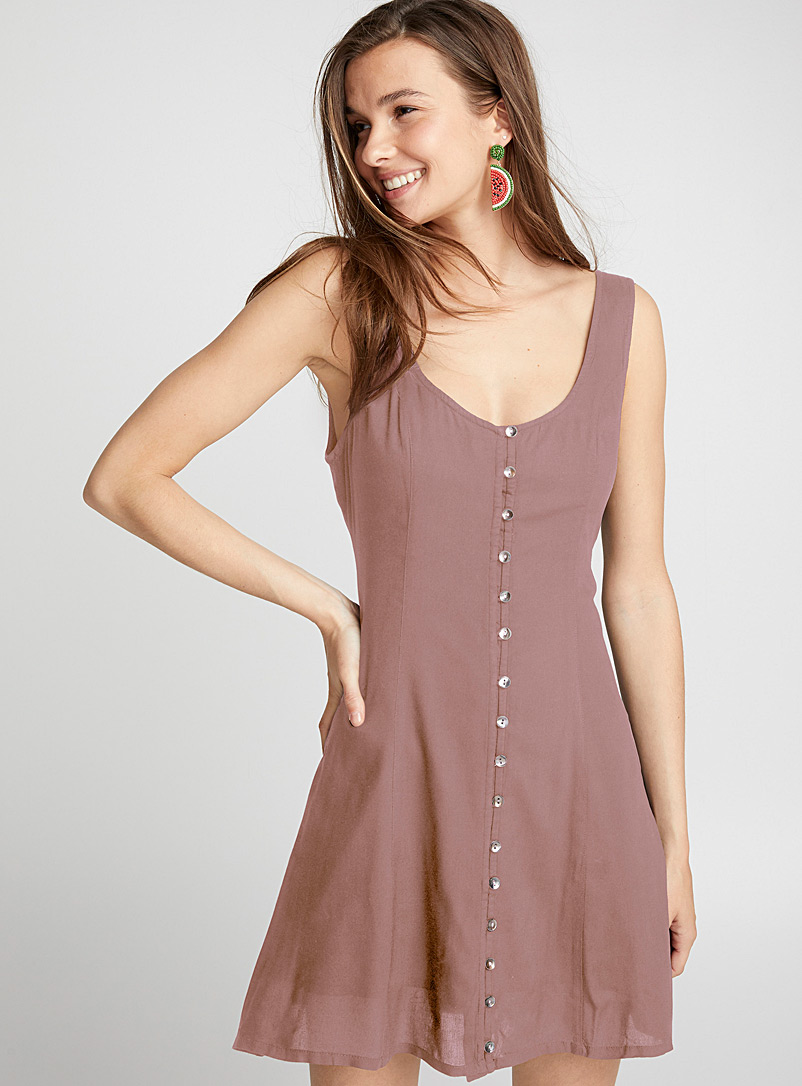 Twik Pink Seashell button dress for women