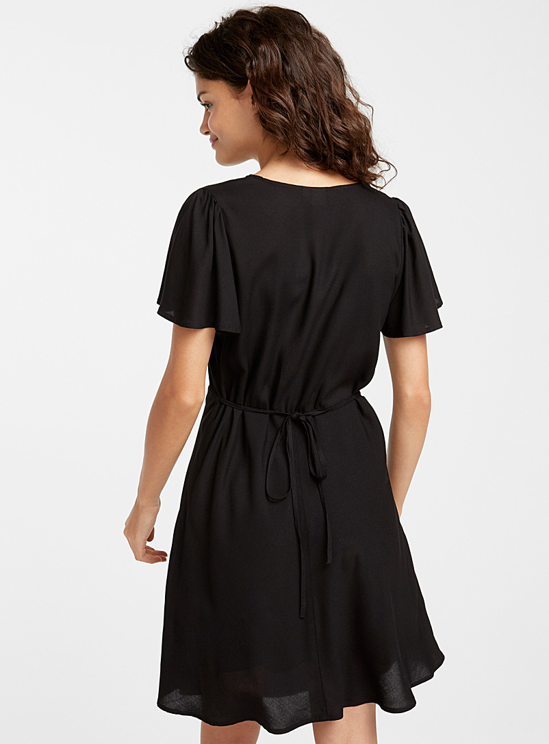 Gathered neck dress - Fit & Flare - Black