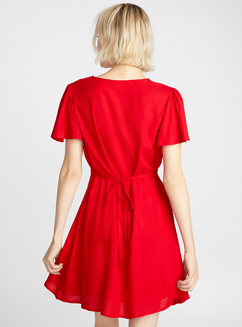 Twik Bright Red Gathered neck dress for women