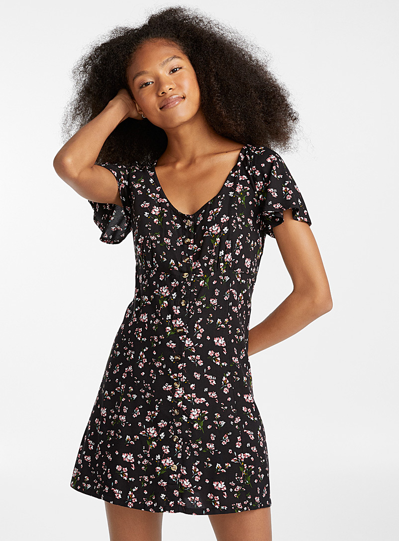 Buttoned laced-back dress - Fit & Flare - Black
