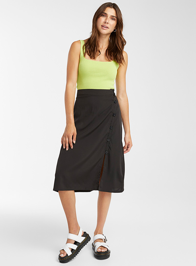 Twik Black Side button midi skirt for women