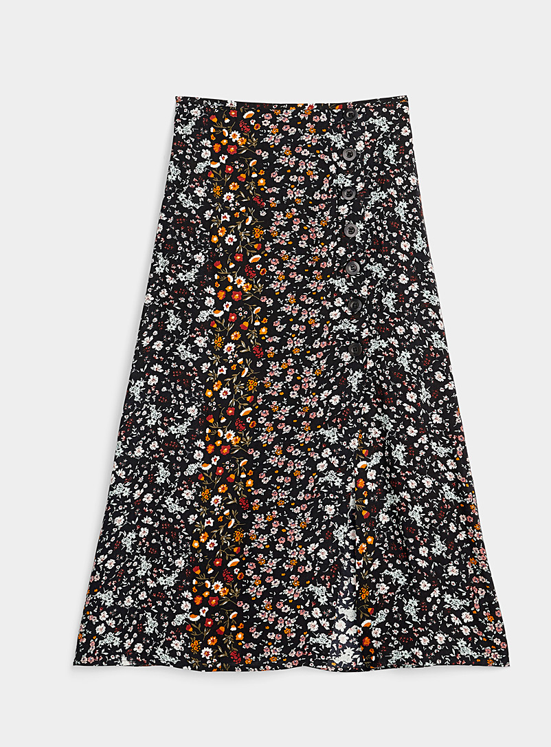 Twik Patterned Black Side button midi skirt for women