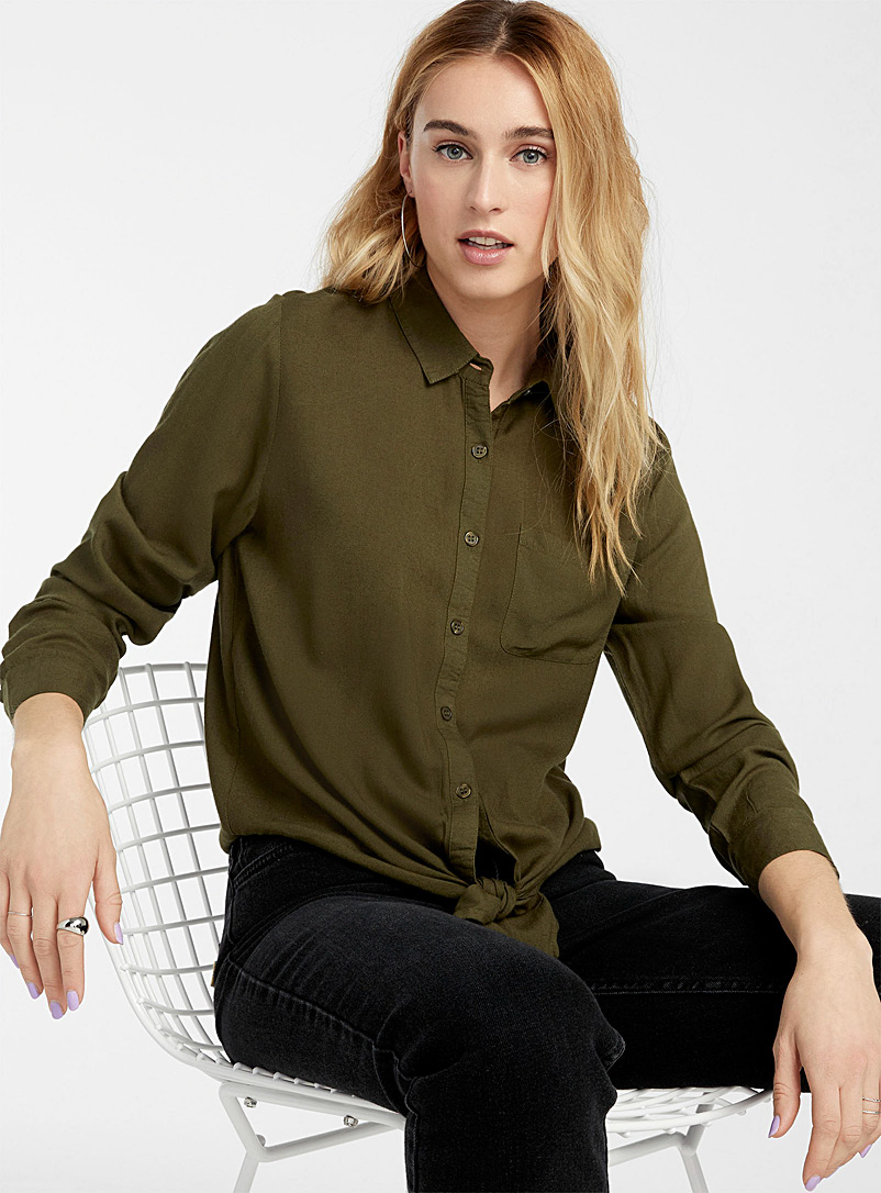 Twik Mossy Green Pocket tie shirt for women