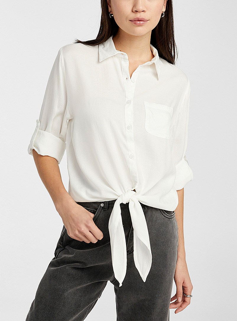 Twik White Rayon tie shirt for women