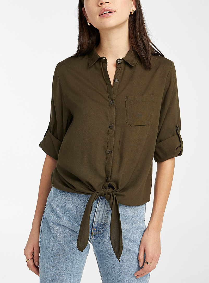 Twik Khaki Rayon tie shirt for women