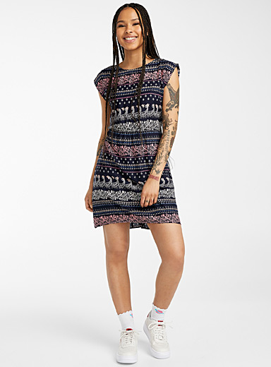 Twik Blue Fitted print dress for women
