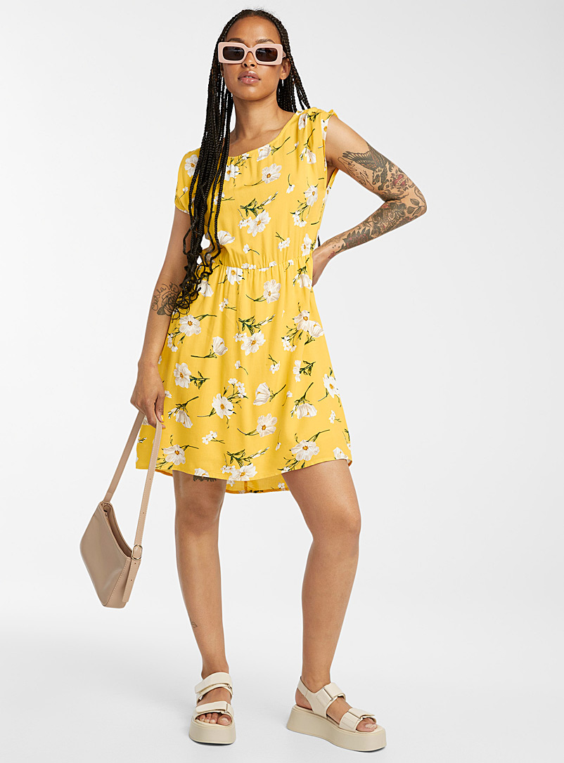 Twik Patterned Yellow Fitted print dress for women
