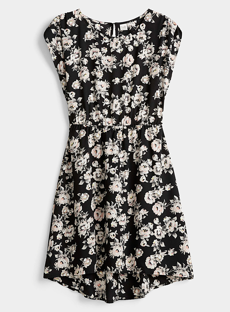 Twik Patterned Black Fitted print dress for women