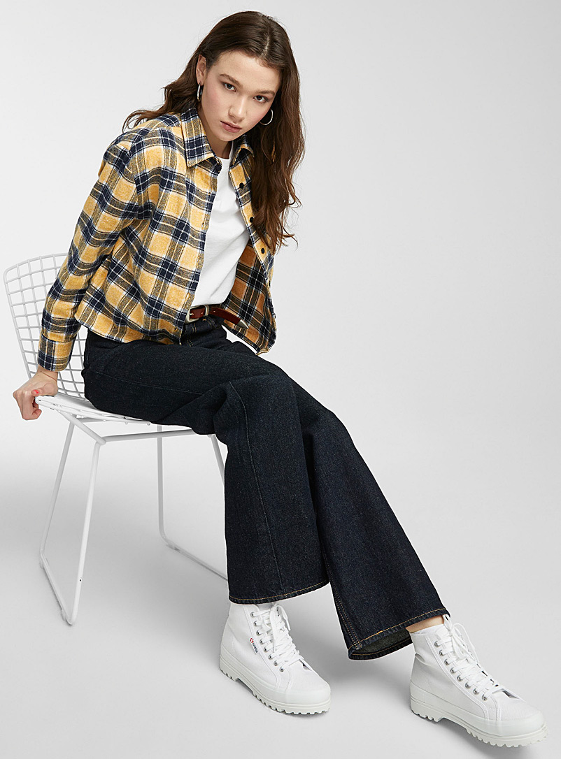 Twik Dark Blue Cropped flannel check shirt for women