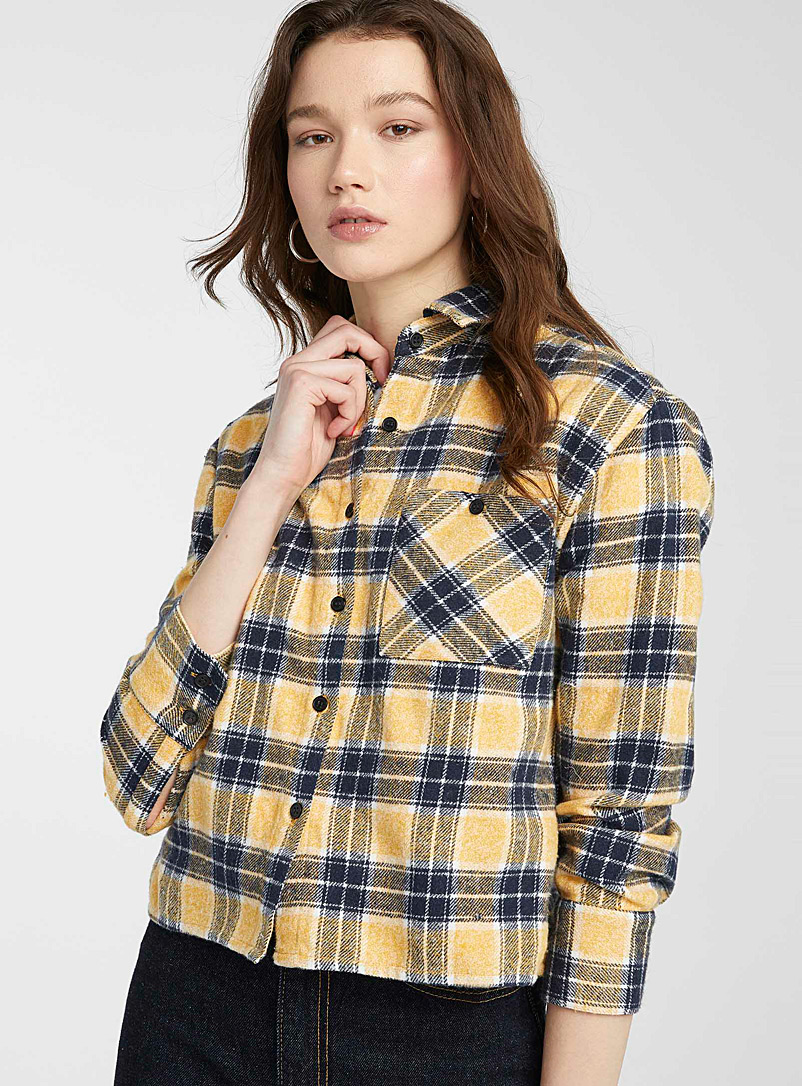 Twik Patterned yellow Cropped flannel check shirt for women