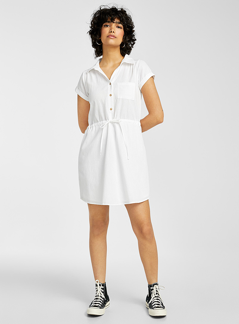 Twik White Cotton-linen utilitarian dress for women