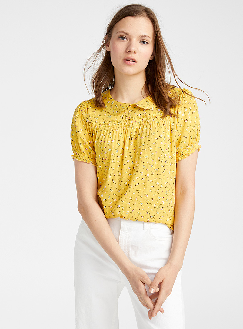 Twik Patterned Yellow Puff-sleeve Peter Pan collar blouse for women