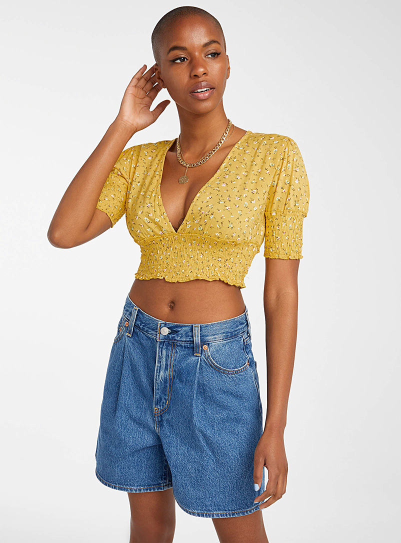 Twik Patterned Yellow Smocked trim V-neck blouse for women