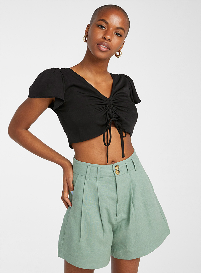 Twik Black Gathered cord cropped blouse for women