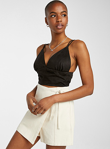 Suede finish ultra-cropped cami