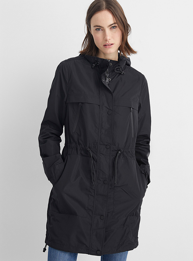 Pajar Canada Black Jackie fitted waist raincoat for women