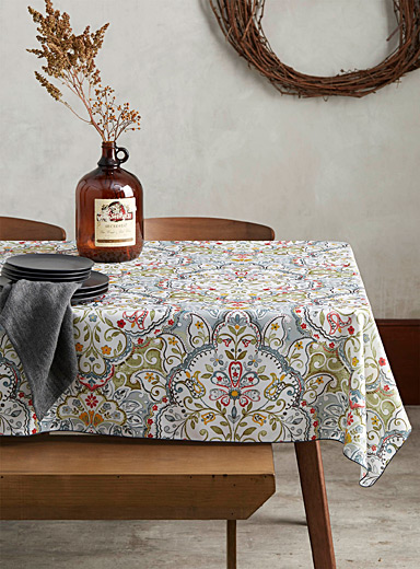 Decorative floral tablecloth