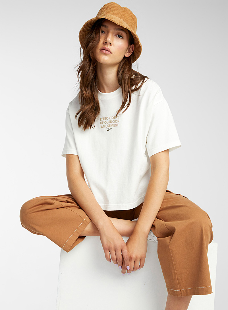 Reebok Classic Ivory White Camping graphic tee for women