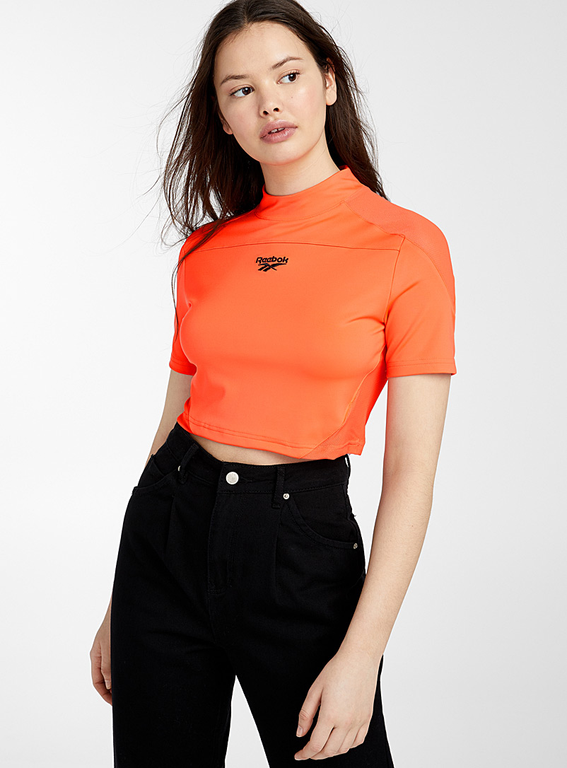 Reebok Classic Orange Cropped mesh-accent tee for women