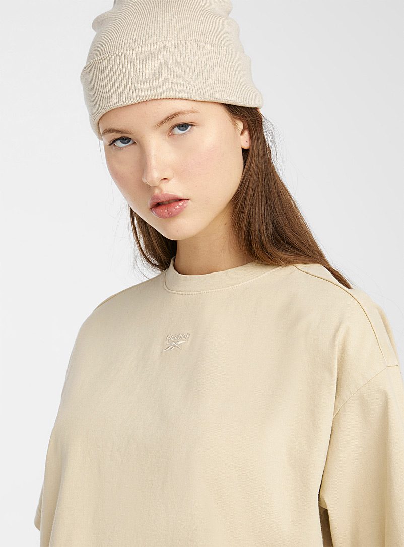 Reebok Classic Ivory White Golden sand loose cropped tee for women