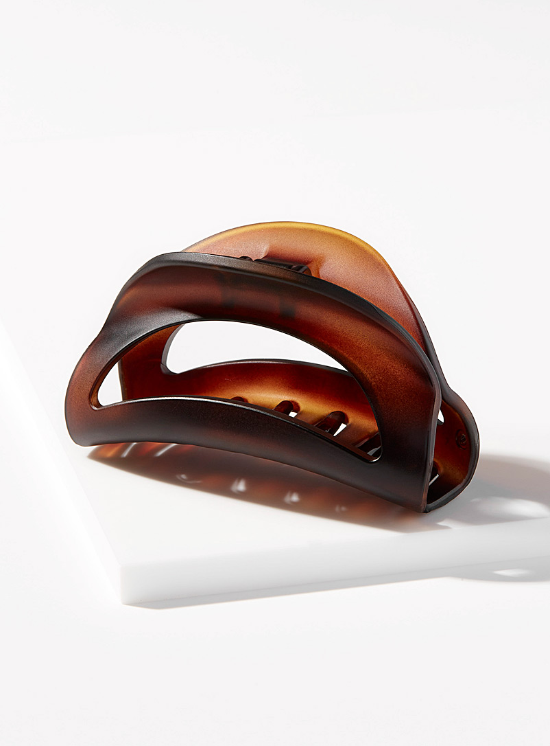Simons Patterned Brown Half-moon clip for women