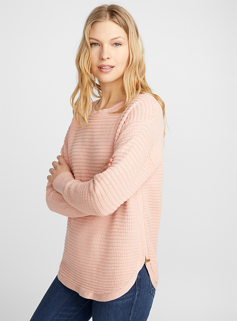 Textured-striped sweater - Sweaters - Dusky Pink