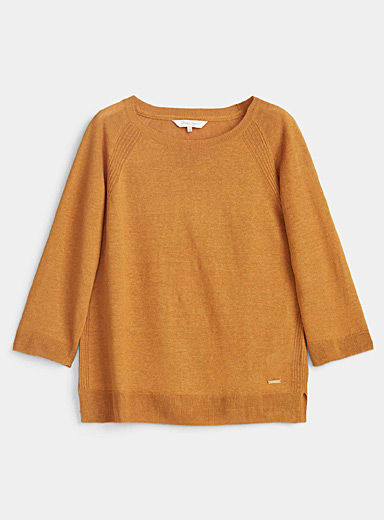 Part Two Copper Caramel raglan ribbed linen sweater for women