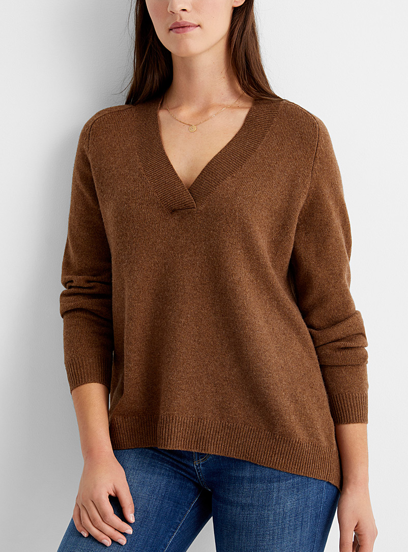 Part Two Dark Brown Elenna ribbed V-neck sweater for women