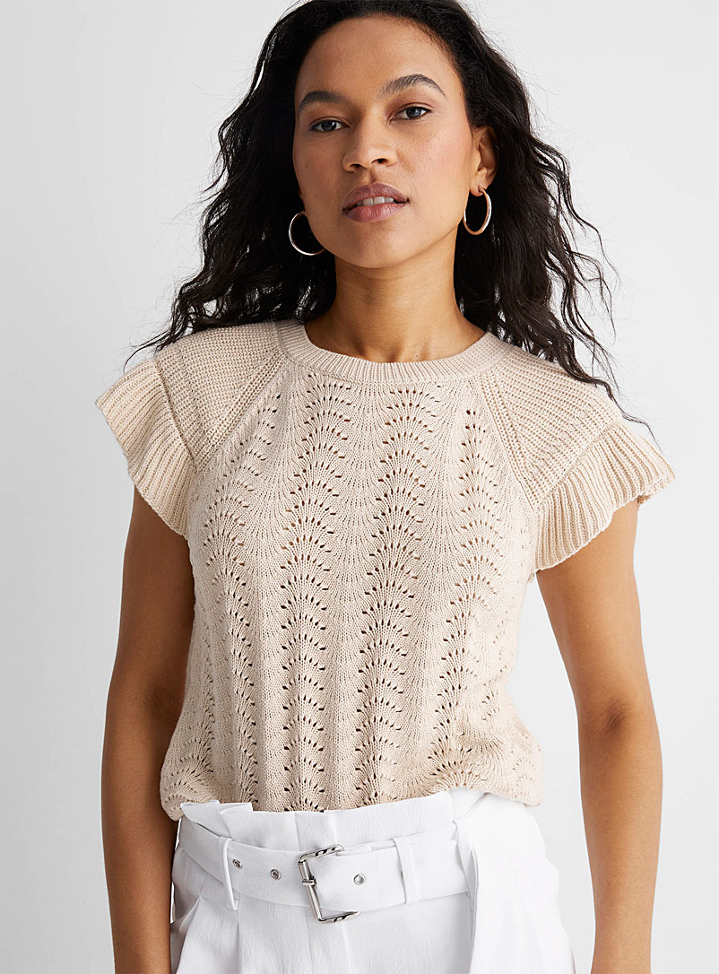 Part Two Sand Ruffle sleeve openwork sweater for women