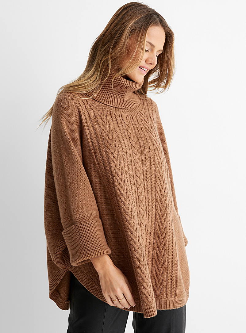 Part Two Dark Brown Cable-knit poncho turtleneck for women