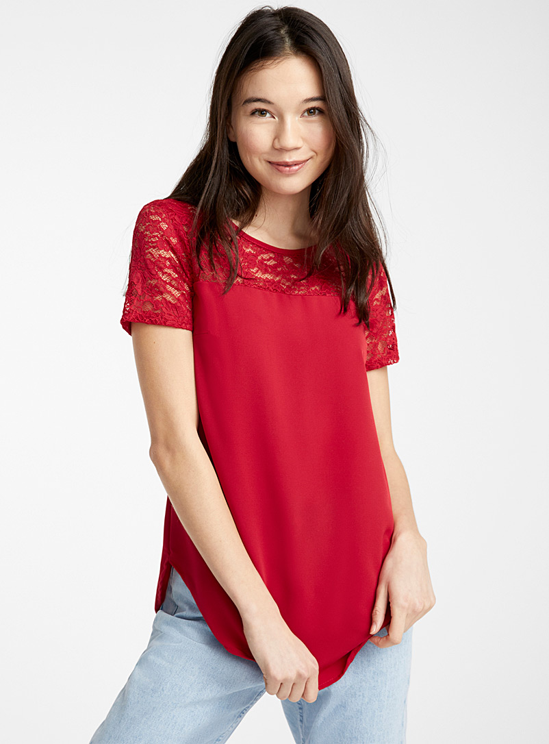 Twik Red Lace-bib blouse for women