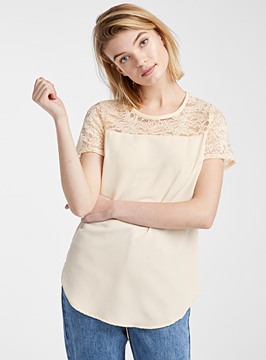Lace-bib blouse