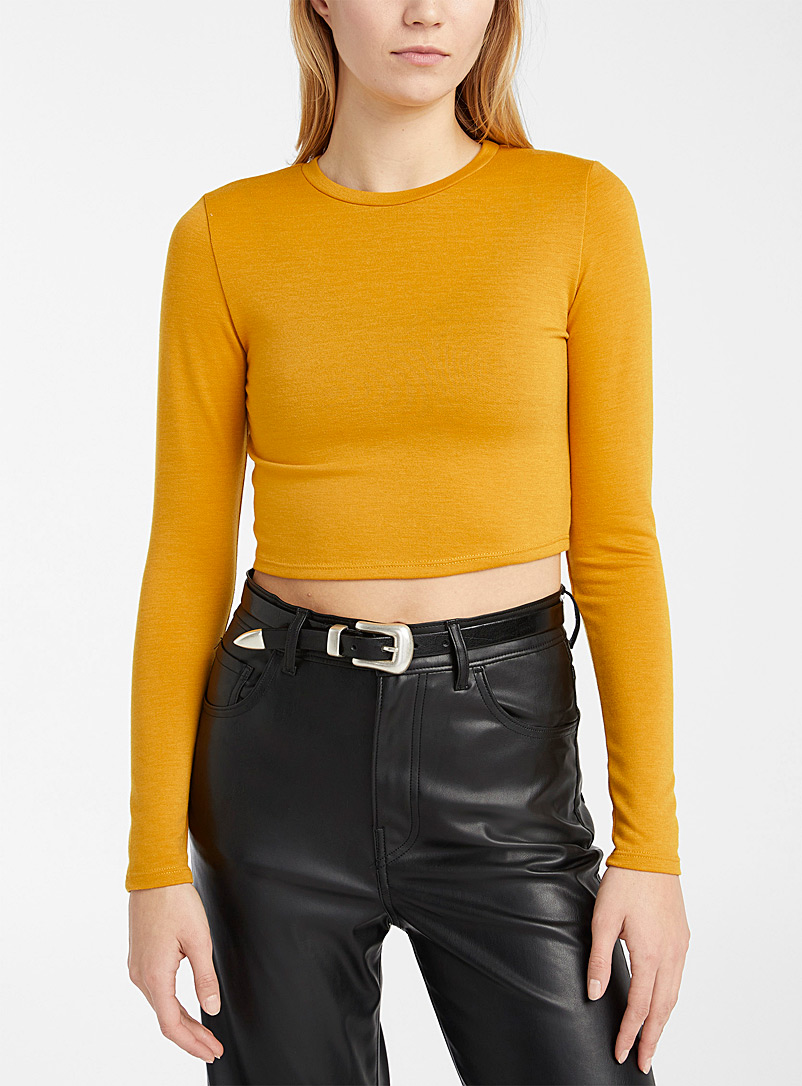 Twik Dark Yellow Basic ultra-cropped tee for women