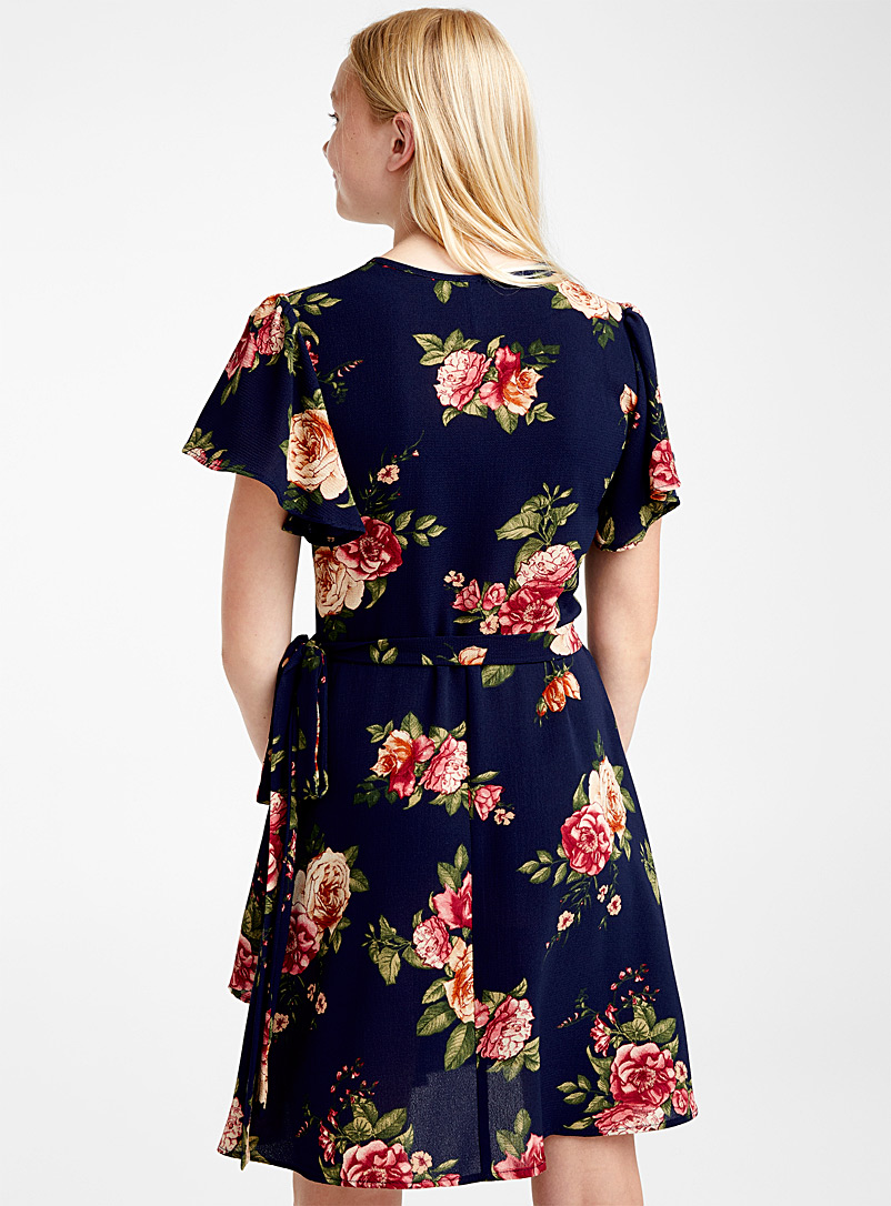 Ruffled sleeve wrap dress - Fit & Flare - Patterned Blue