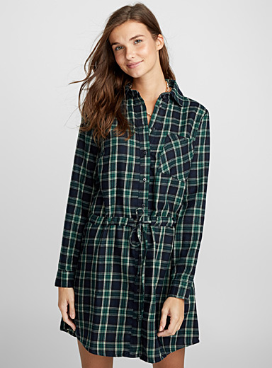 Checkered flannel dress