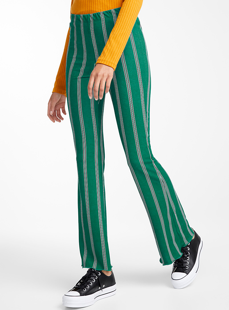 Retro stripe flared pant - Wide leg - Patterned Green
