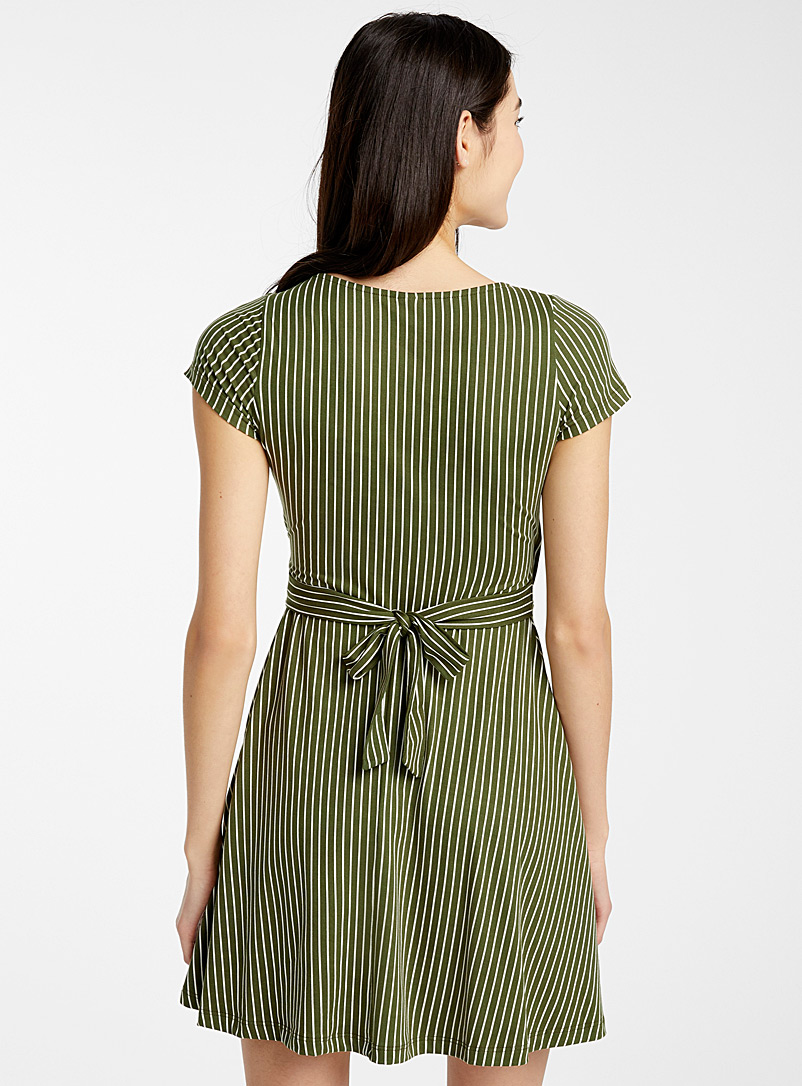 Brushed crossover dress - Fit & Flare - Kelly Green
