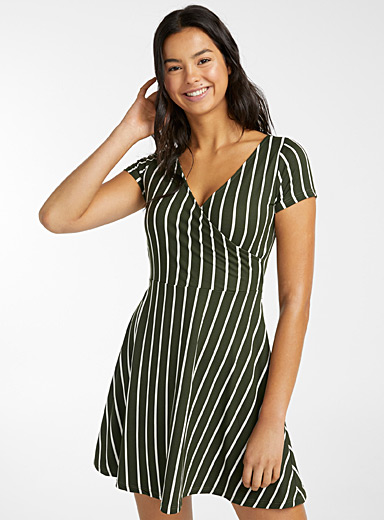 Twik Lime Green Brushed crossover dress for women