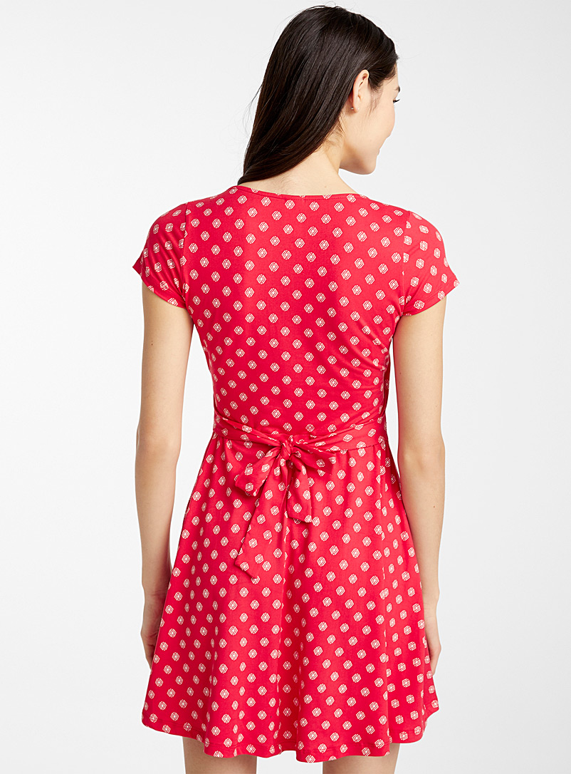 Brushed crossover dress - Fit & Flare - Patterned Red