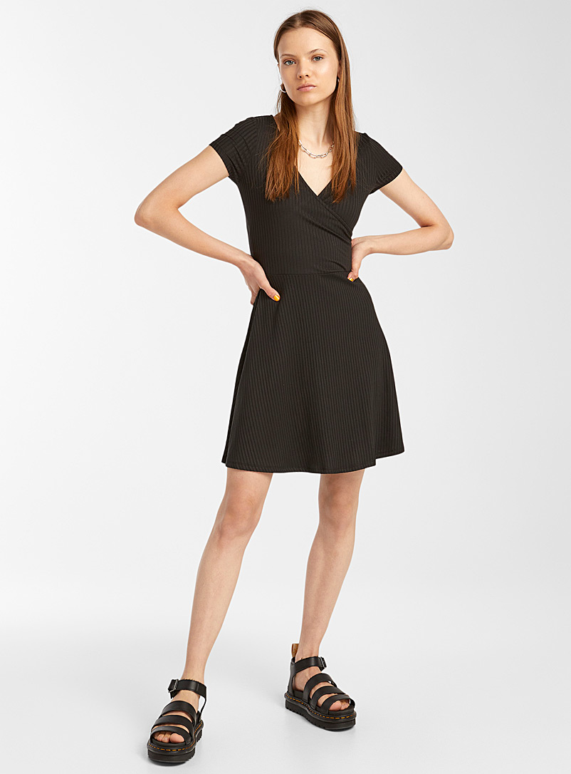 Twik Black Ribbed crossover dress for women