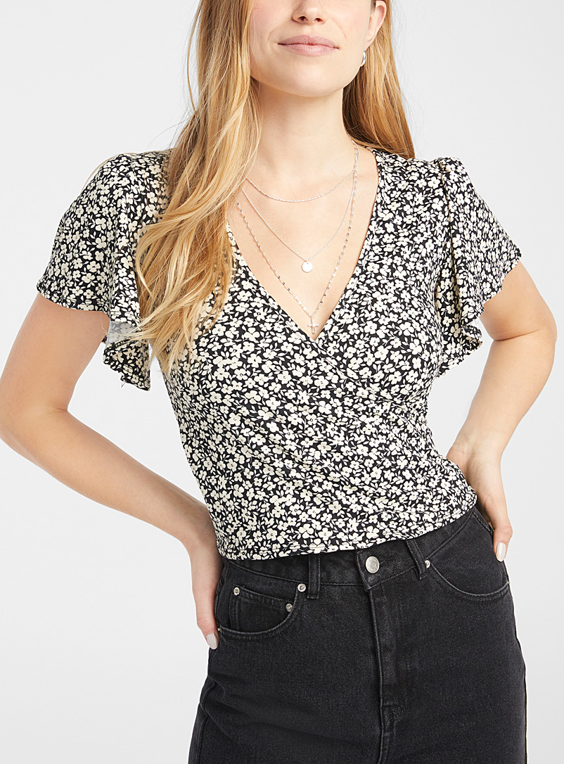 Twik Black Crossover cropped tee for women