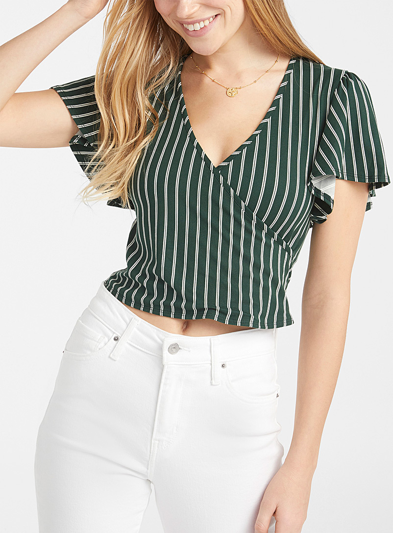 Twik Green Crossover cropped tee for women